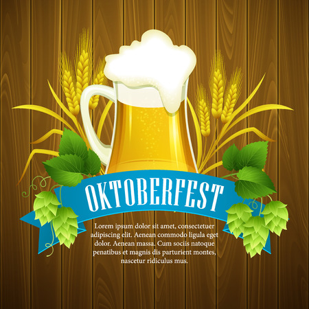oktoberfest background: Oktoberfest Background with Beer. Poster template. Vector illustration  Illustration