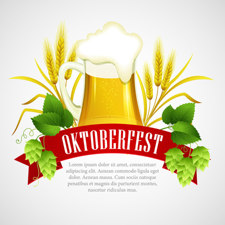 oktoberfest background: Oktoberfest Background with Beer. Poster template. Vector illustration EPS 10