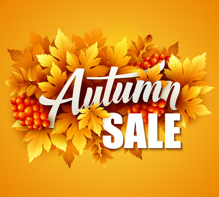 fall leaf: Autumn typographic. Fall leaf. Vector illustration