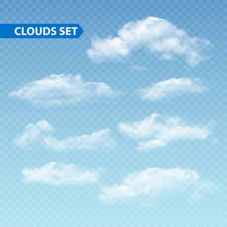 ciel avec nuages: Ensemble de nuages ??différents transparentes. Vector illustration EPS 10 Illustration