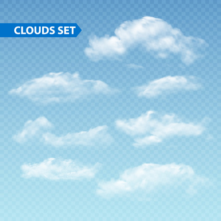 isolated on white: Set of transparent different clouds. Vector illustration EPS 10