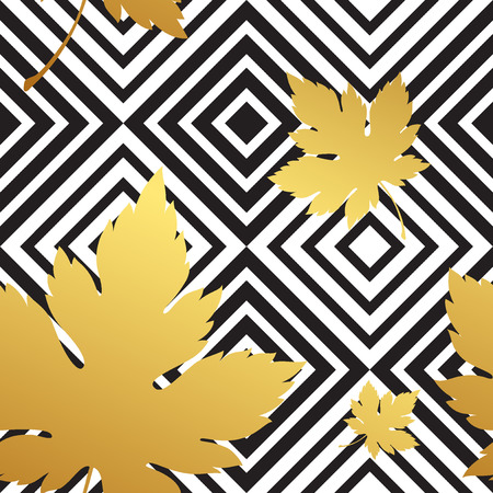 white flowers: Geometric seamless leaf repeat pattern in black, white and gold EPS 10