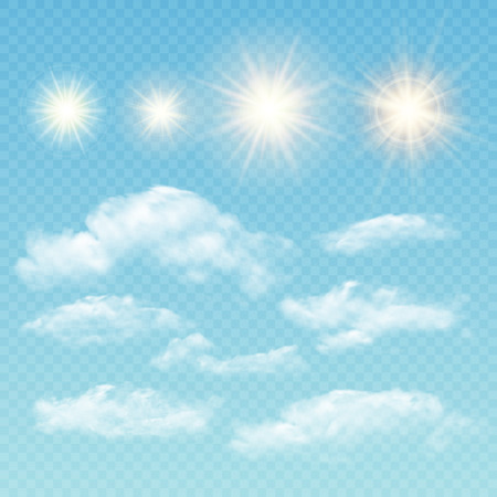 sky sun: Sky creator. Set realistic clouds and sun. Vector illustration EPS 10 Illustration