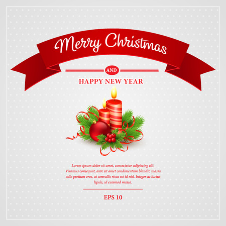 red banner: Christmas greeting card. Vector illustration EPS 10