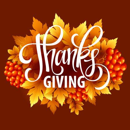 accion de gracias: Feliz Acci�n de Gracias con las hojas de oto�o felicitaci�n y texto. Ilustraci�n del vector EPS 10