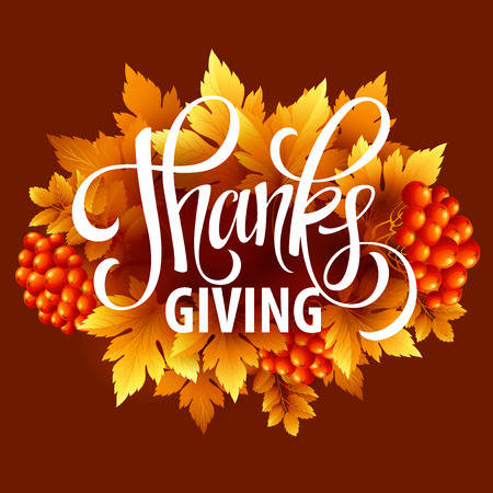 text: Happy Thanksgiving with text greeting and autumn leaves . Vector illustration EPS 10