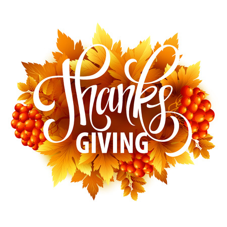 thanksgiving leaves: Happy Thanksgiving with text greeting and autumn leaves . Vector illustration EPS 10