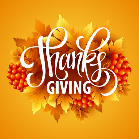 thanksgiving card: Happy Thanksgiving with text greeting and autumn leaves . Vector illustration EPS 10