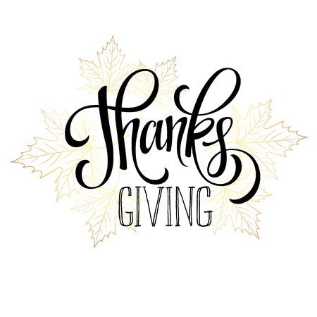 accion de gracias: Acci�n de Gracias - oro brillante dise�o de letras. Ilustraci�n del vector EPS 10