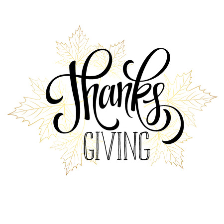 thanksgiving: Thanksgiving - gold glittering lettering design. Vector illustration EPS 10 Illustration
