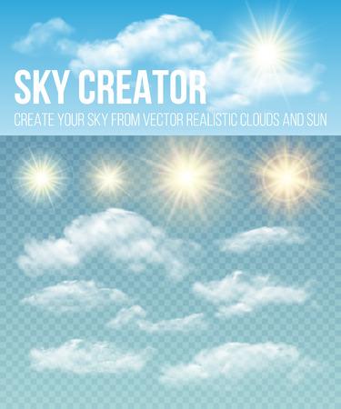 하늘 창조주. 현실적인 구름과 태양을 설정하십시오. 벡터 일러스트 레이 션 EPS 10 일러스트