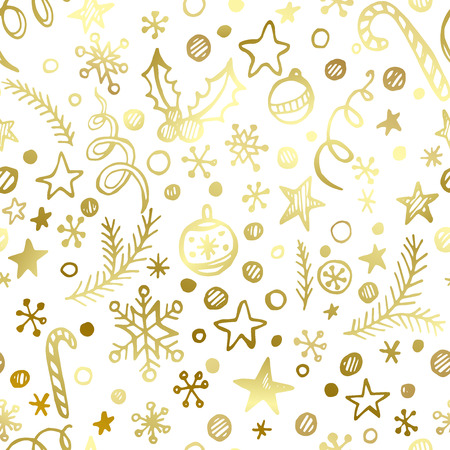 christmas wallpaper: Christmas and New Year golden seamless pattern EPS 10 Illustration
