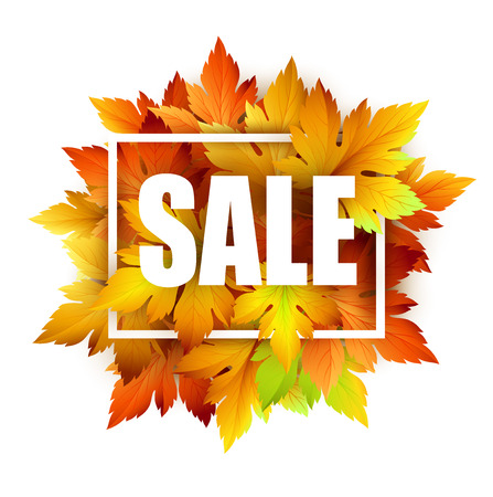 sales: Autumn typographic. Fall leaf. Vector illustration EPS 10 Illustration