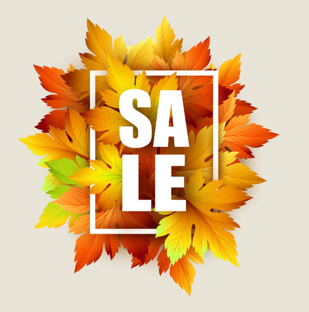 Autumn typographic. Fall leaf. Vector illustration EPS 10 Ilustração