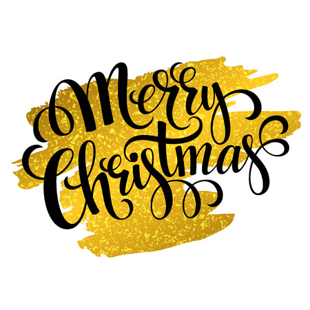 marry christmas: Marry Christmas gold glittering lettering design. Vector illustration EPS 10