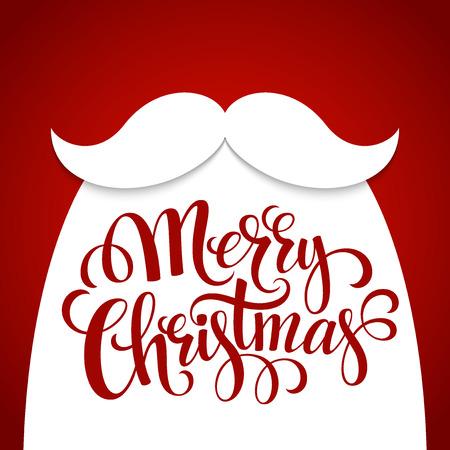 red label: Christmas Typographic Background. Santa  Beard. Vector illustration EPS 10