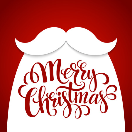 Christmas Typographic Background. Santa  Beard. Vector illustration EPS 10
