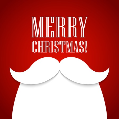 Christmas card with a beard and mustache Santa Claus Çizim