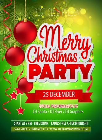 christmas tree ball: Christmas party flyer. Vector template  EPS 10