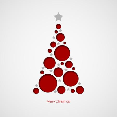 natale: Cartolina di Natale con l'albero di Natale Vettoriali