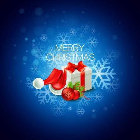 christmas gifts: Christmas gift box and Santa hat Illustration