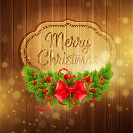 table decor: Christmas decoration on the wooden background
