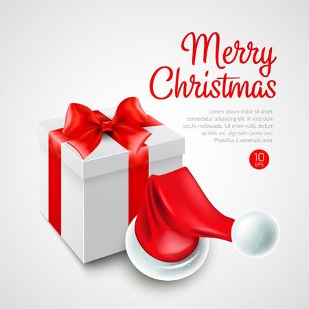 Christmas gift box and Santa hat Vectores