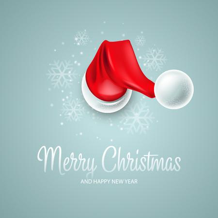 산타 클로스 모자와 함께 크리스마스 카드