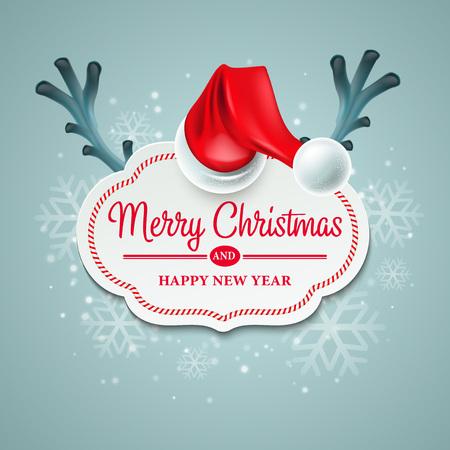 hat santa: Christmas card with Santa Claus hat and reindeer antlers