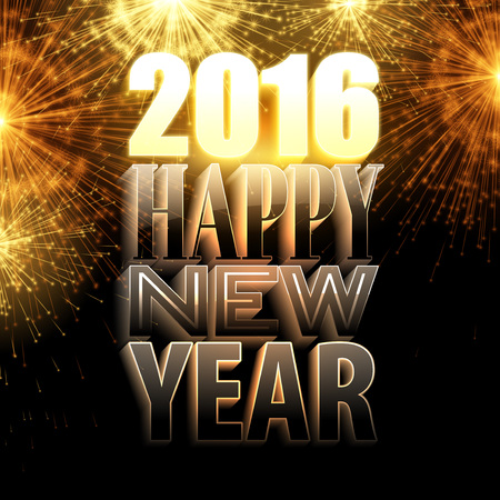 happy new year text: Happy New Year 2016. Holiday background with 3d light text. Vector illustration
