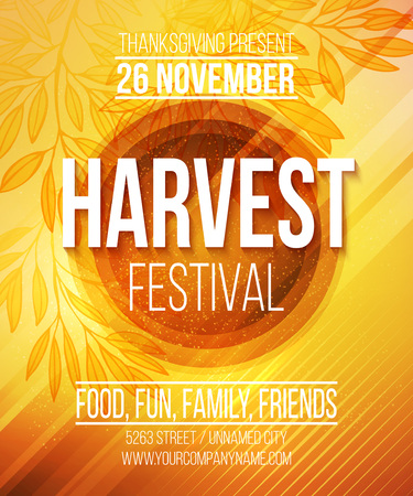 farm fresh: Harvest Festival Poster. Vector illustration