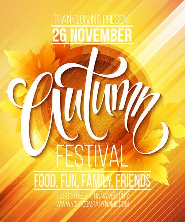 otoño: Festival de Otoño de la plantilla del cartel. Ilustración vectorial