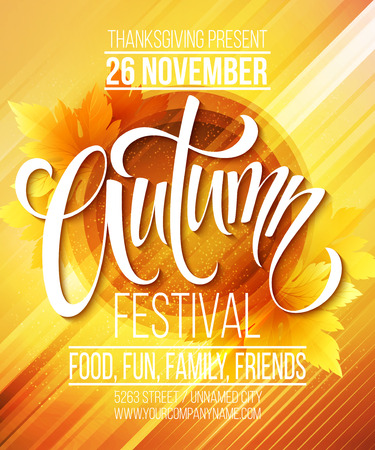Autumn Festival poster template. Vector illustration   Illustration