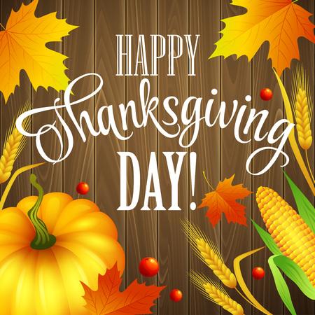 accion de gracias: Mano tarjeta de felicitaci�n de la acci�n de gracias elaborado con hojas, calabaza y espiga en el fondo de madera. Ilustraci�n vectorial Vectores