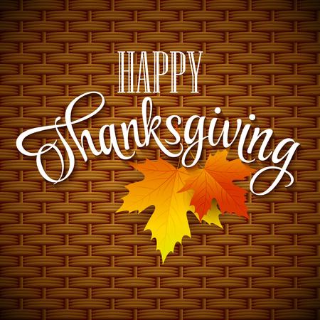 thanksgiving day symbol: Ringraziamento scheda cesto di vimini sfondo. Eps di illustrazione vettoriale 10