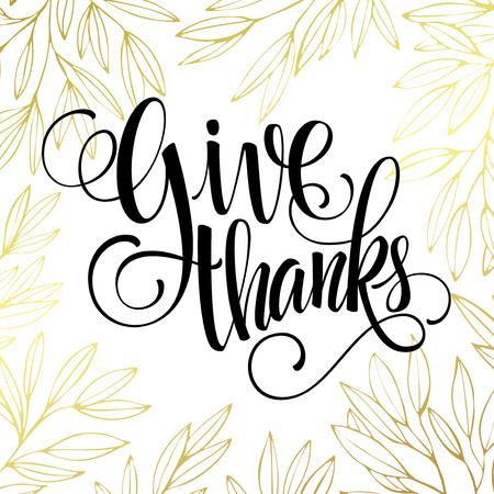 beautiful thanksgiving: Thanksgiving - gold glittering lettering design. Vector illustration EPS 10 Illustration