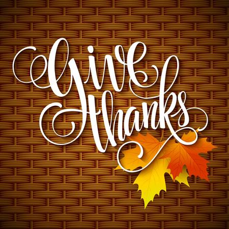 harvest basket: Thanksgiving Day Lettering. Vector illustration EPS 10