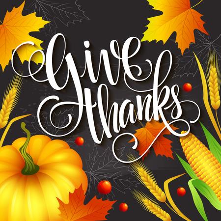caes: Mano tarjeta de felicitación de la acción de gracias elaborado con hojas, calabaza y espiga. Ilustración del vector EPS 10