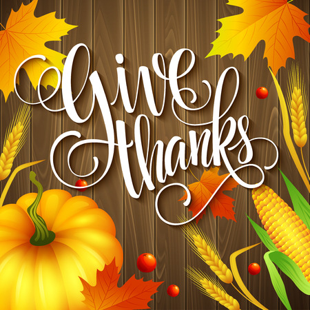 thanksgiving greeting: Hand drawn thanksgiving greeting card with leaves, pumpkin and spica on wood background. Vector illustration EPS 10