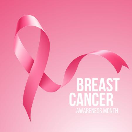 cancer de mama: El cáncer de mama de la cinta de la conciencia. Ilustración del vector EPS 10