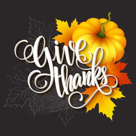 caes: Mano tarjeta de felicitación de la acción de gracias elaborado con hojas, la calabaza y la espiga. ilustración vectorial