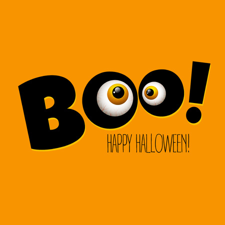 night vision: Funny Halloween greeting card monster eyes. Vector illustration
