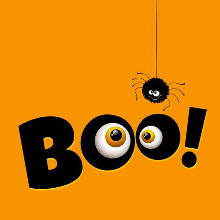 ojos verdes: Divertidos de felicitación de Halloween del monstruo tarjeta de ojos. Ilustración vectorial Vectores