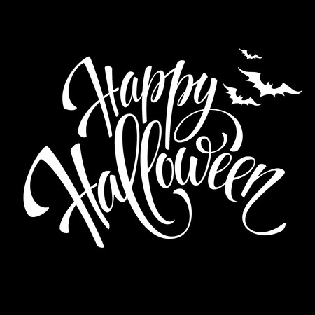 feliz: Fondo feliz de diseño de mensajes de Halloween. Ilustración vectorial