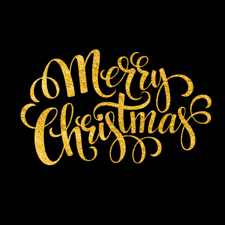 text message: Merry Christmas gold glittering lettering design. Vector illustration