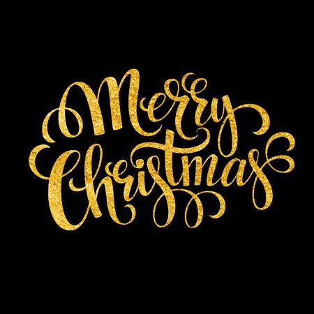 Merry Christmas goud glinsterende belettering ontwerp. Vector illustratie Stock Illustratie