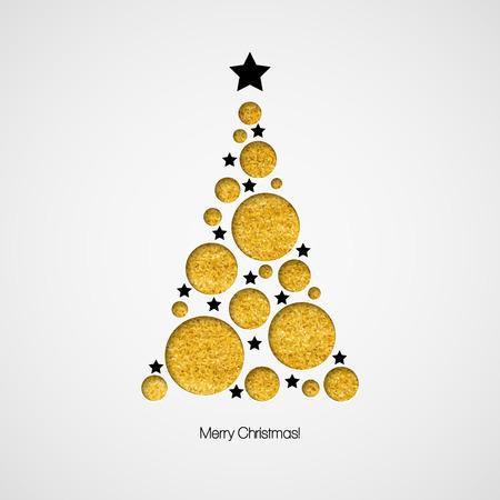 christmas postcard: Christmas card with Christmas tree. Vector illustration