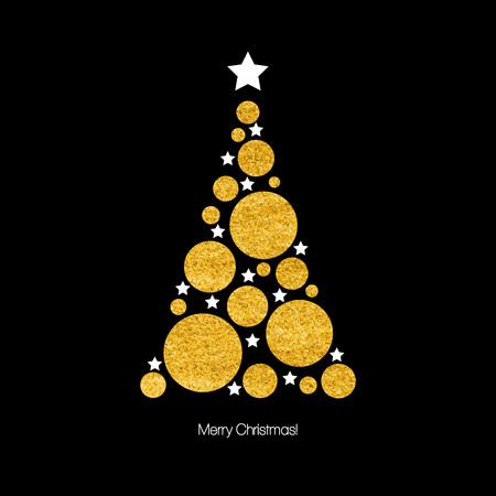 Weihnachtskarte mit Weihnachtsbaum. Vektor-Illustration Standard-Bild - 45333842
