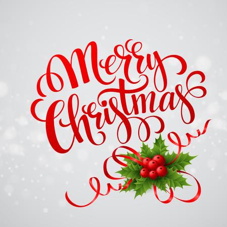 christmas bow: Christmas greeting card. Vector illustration  Illustration