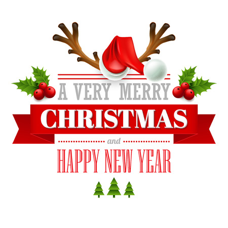 decorative elements: Christmas labels, emblems,  decorative elements. Vector illustration